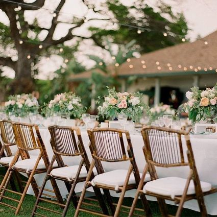 Bamboo Folding Chair Outside Wedding