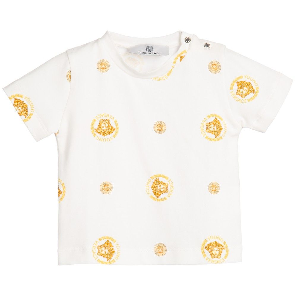 3370bb75 Baby Boys Ivory T-Shirt with Gold Medusa Print, Young Versace, Boy ...