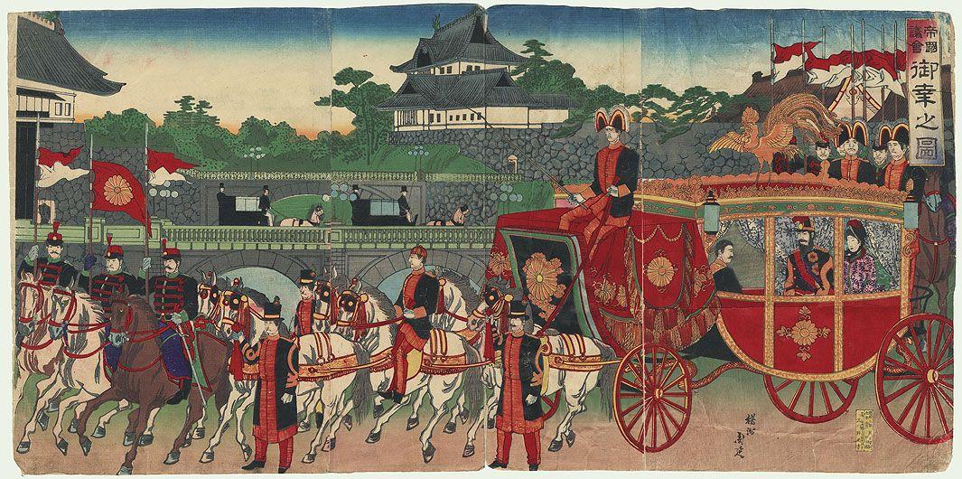 Original Chikanobu (1838 - 1912) Japanese Woodblock Print   Meiji Emperor's Carriage