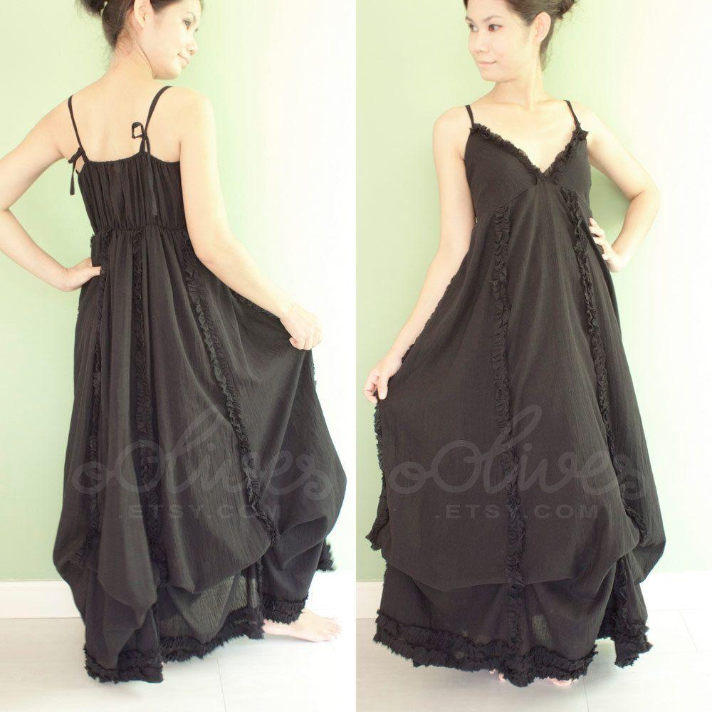 Romantic Maxi Baby Doll Dress in Black, Cotton Fabric, Tie Shoulder Straps via Etsy.