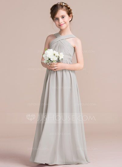A Line Princess V Neck Floor Length Chiffon Junior Bridesmaid Dress With Ruffle Bow S 009097070