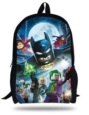 16-Inch Popular Children School Bag Kids Printing Cartoon Backpack Hero  Superman Characters Ninjago Bag For Kids Boys Girls e609d31159