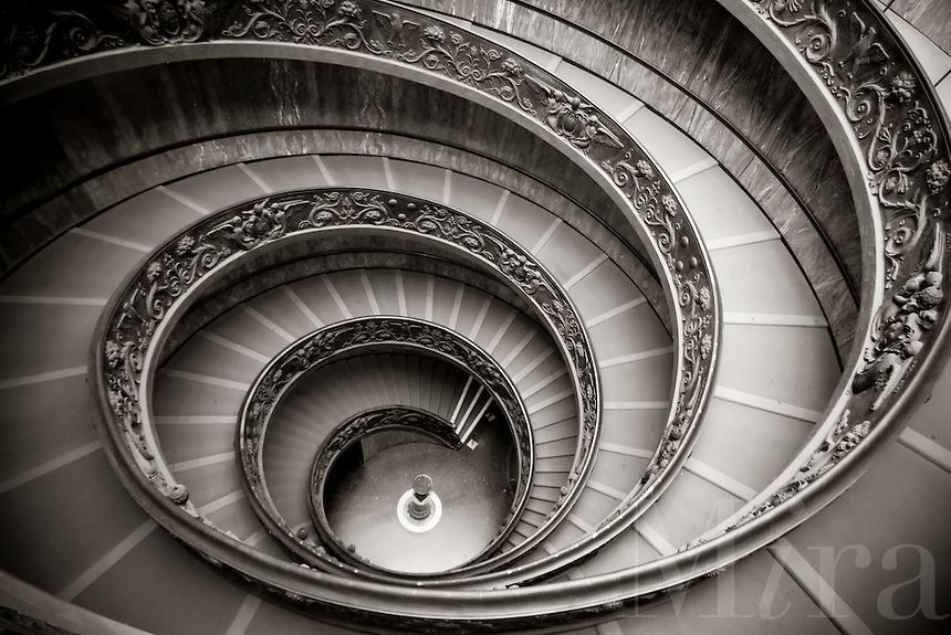 Spiral Staircase At The Vatican Museum In Vatican City Rome
