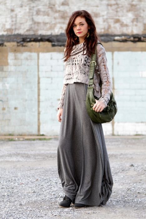 Cropped Knit sweater over a maxi dress.