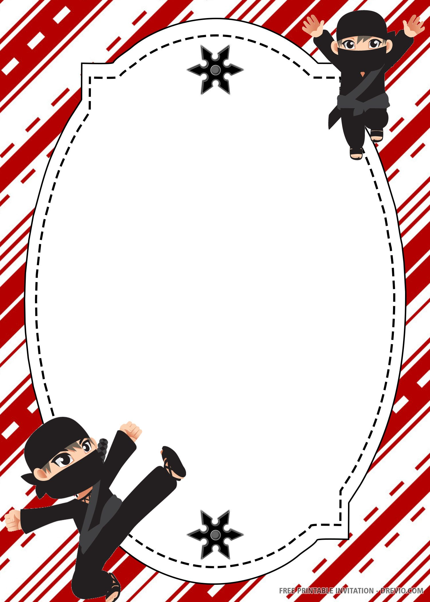 FREE PRINTABLE) - Ninja Birthday Invitation Template  DREVIO