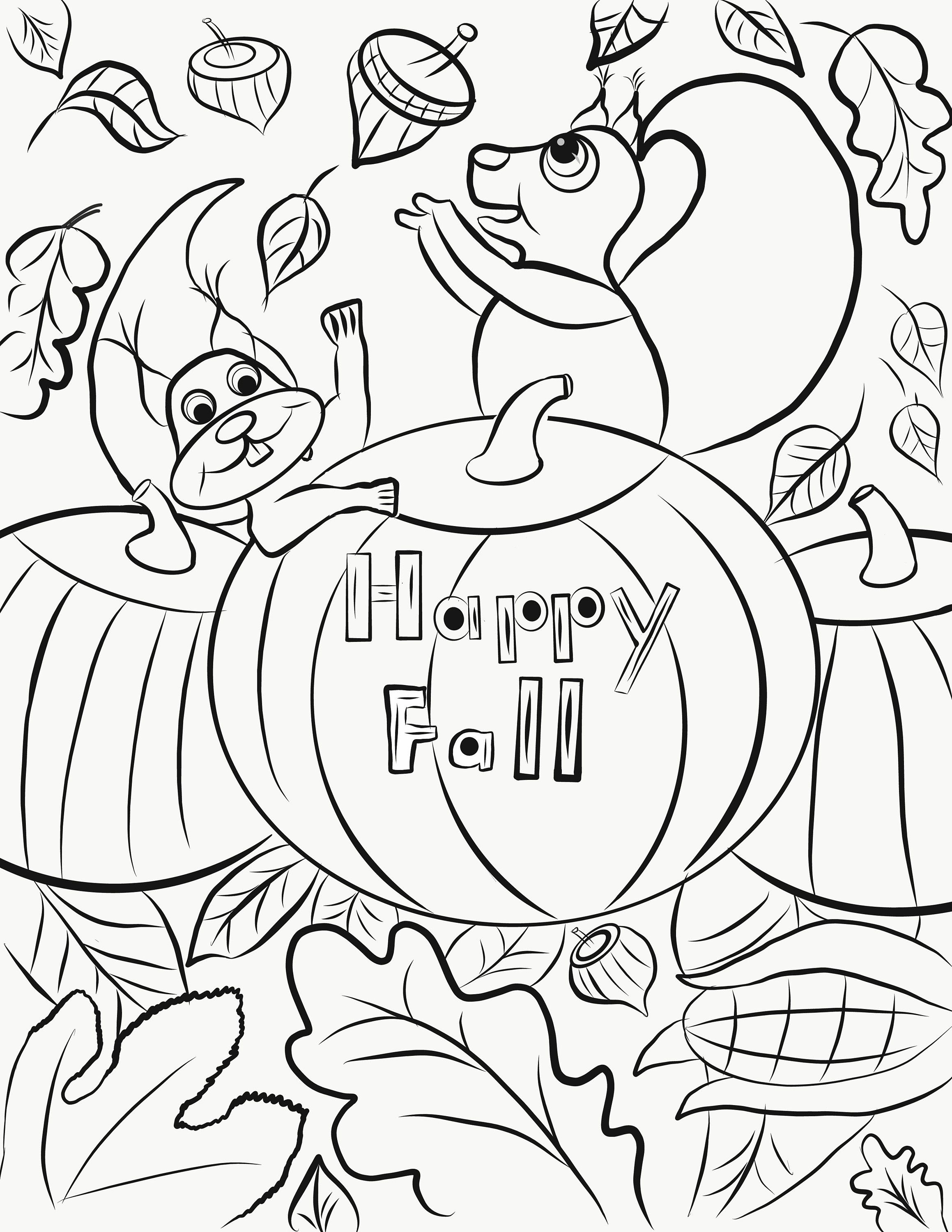 Happy Fall Coloring Page Printable Artwork Pdf Any Age Etsy Fall Coloring Pages Free Thanksgiving Coloring Pages Fall Coloring Sheets