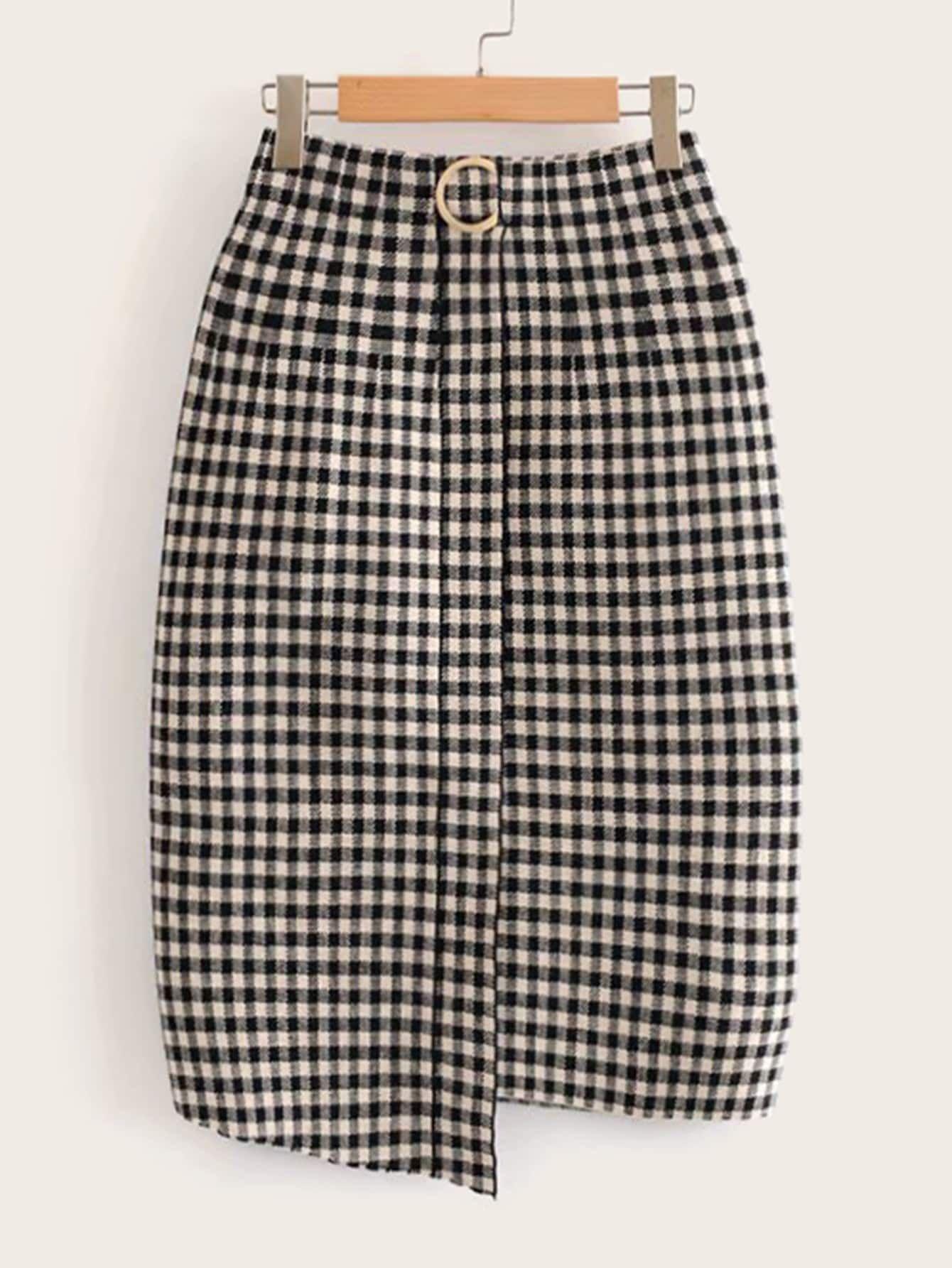 Ladies//Womens Tartan Asymmetric Hem Skirt//Shorts//Skorts