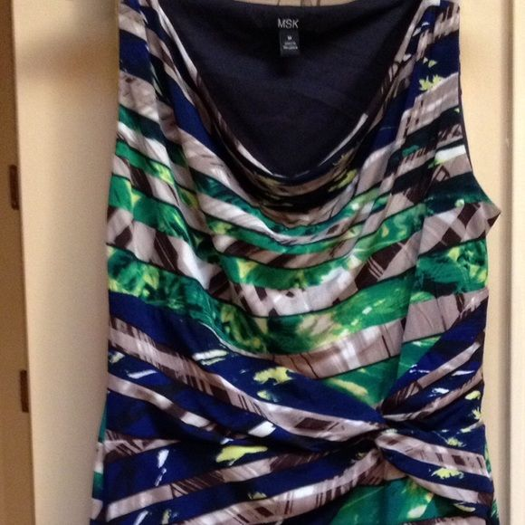 """Sleeveless drape-neck dress Perfect year 'round dress. Just add a cardigan or blazer in cooler temps. Extremely flattering! Taupe, navy, brown, green and yellow throughout. 38"""" from shoulder to hem. Stretchy. Polyester with spandex. See listing for info on BOGO SALE! MSK Dresses"""