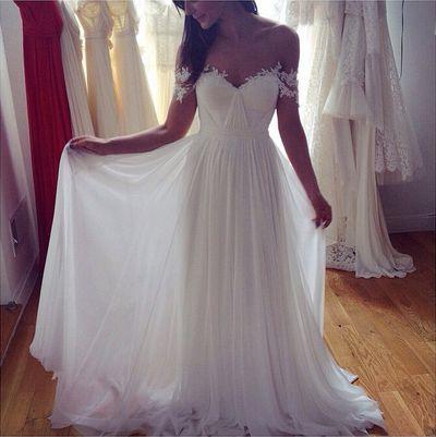 Sweetheart white chiffon long prom dress,A-line lace long prom dress,Formal Dress,Evening Dress