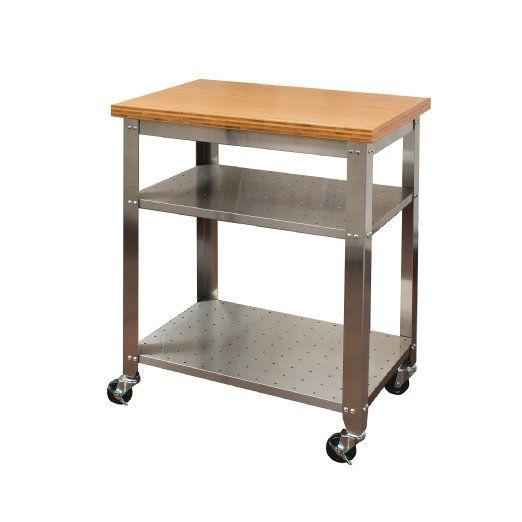 Seville Classics Stainless Steel Kitchen Cart With Bamboo Top - Stainless steel table top shelves