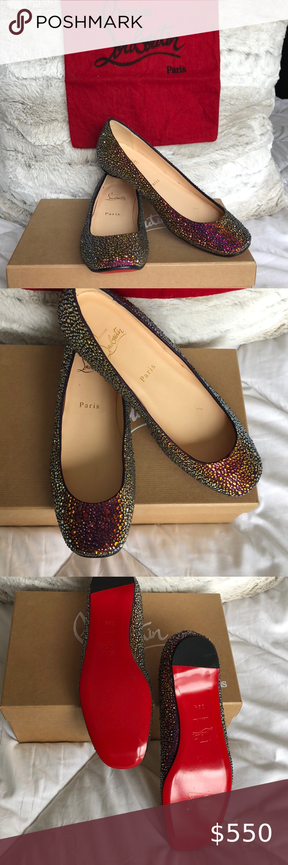 724b64024d08 CHRISTIAN LOUBOUTIN CRYSTAL FLATS 38.5 RARE NEVER WORN NEW WITH BOX AND  DUST BAG SIMPLY GORGEOUS 38.5 Christian Louboutin Shoes Flats   Loafers