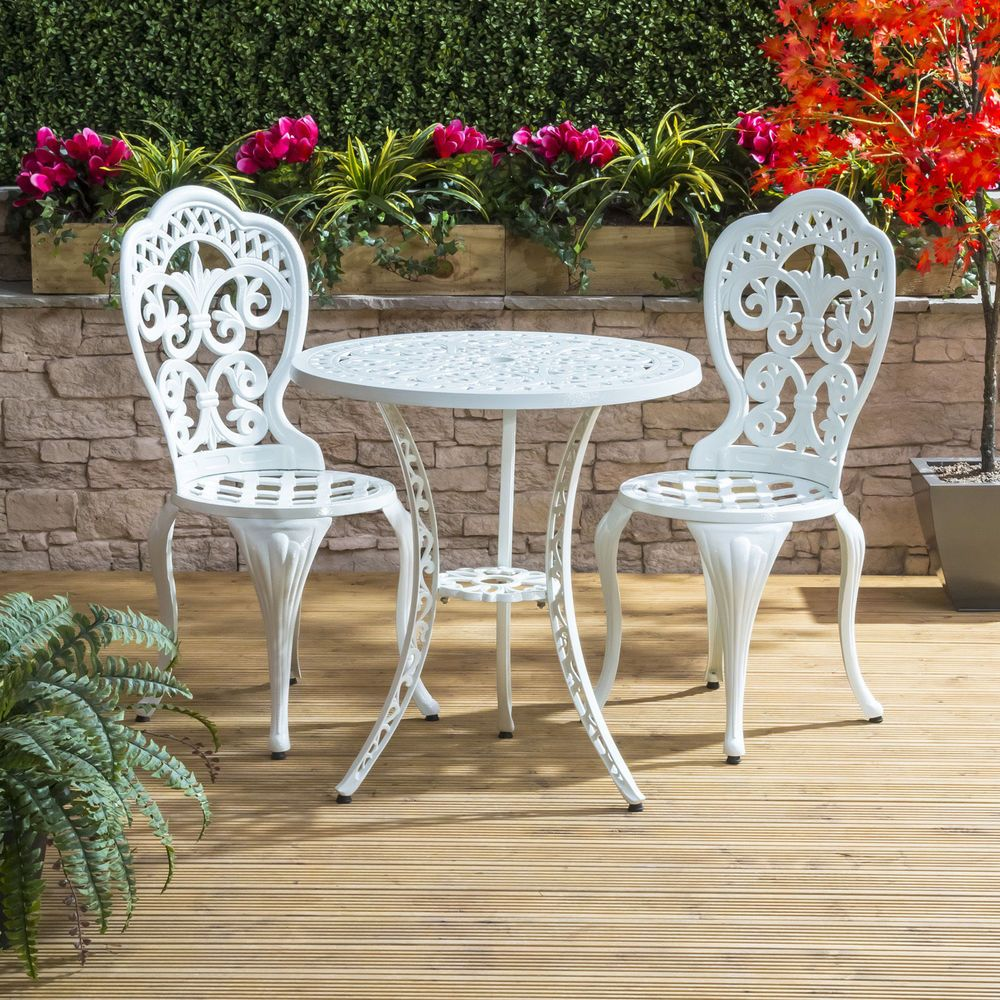 Vintage Bistro Set Cast Aluminium White Outdoor Coffee Balcony Table Chair Patio Garden Furniture