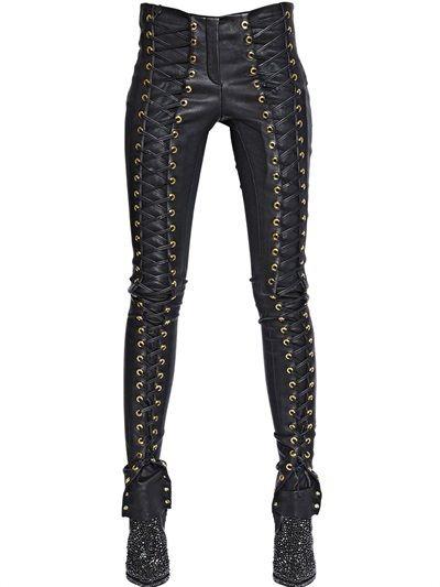 2641b035631f Lace-Up Nappa Leather Pants
