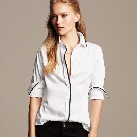 b8361a47e045ae NWT Banana Republic Non-Iron Fitted Shirt Crisp white button-down shirt  with black piping down front & along collar & cuffs. 97% cotton. 3% spandex.