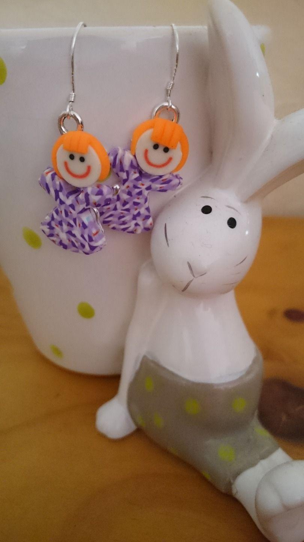 """CADEAU ORIGINAL BOUCLES D'OREILLES ENFANT """"Les petites Violetta"""" : Bijoux enfants par la-fabrique-des-elfes"""
