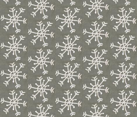 Embroidered Snowflake on Linen fabric by owlandchickadee on Spoonflower - custom fabric