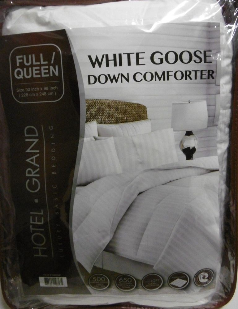 Hotel Grand Full Queen White Goose Down Comforter Oversized 500tc