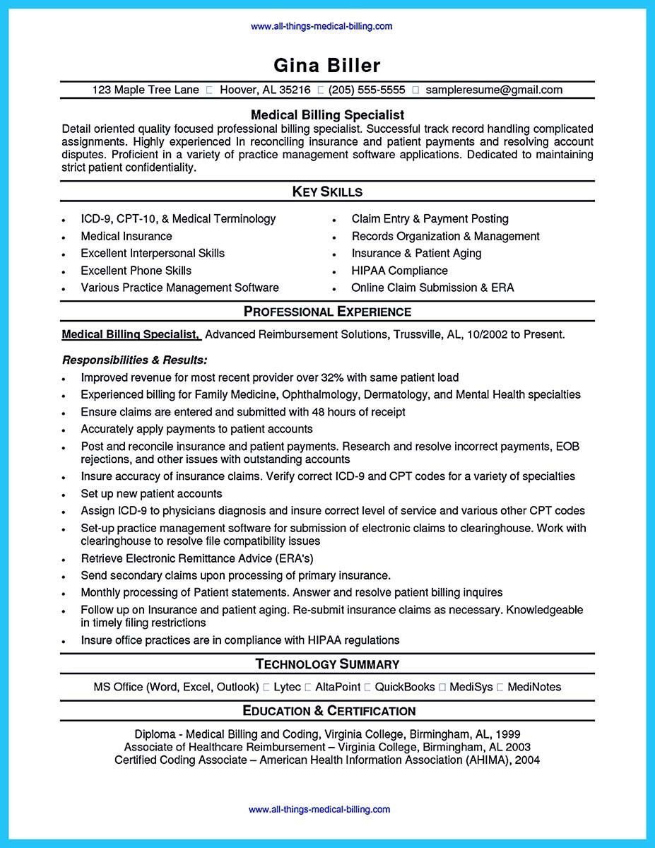 Medical Coder Resume Cool Exciting Billing Specialist Resume That Brings The Job To You