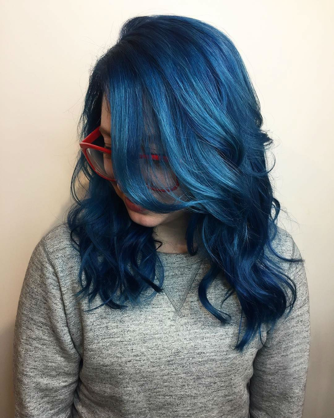 Unusual shade of darker blue hair this color is so perfect