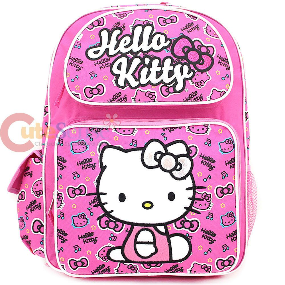 "Brand New. Sanrio Hello Kitty 16/"" Large Roller Backpack Trolley"