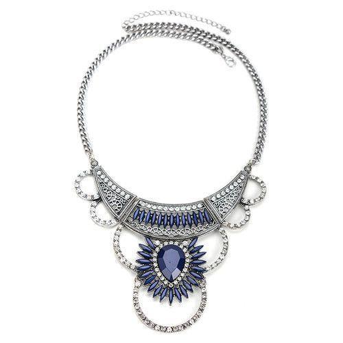 Eliza Crystal Bib Collar Boho Maxi Statement Necklace (Blue)