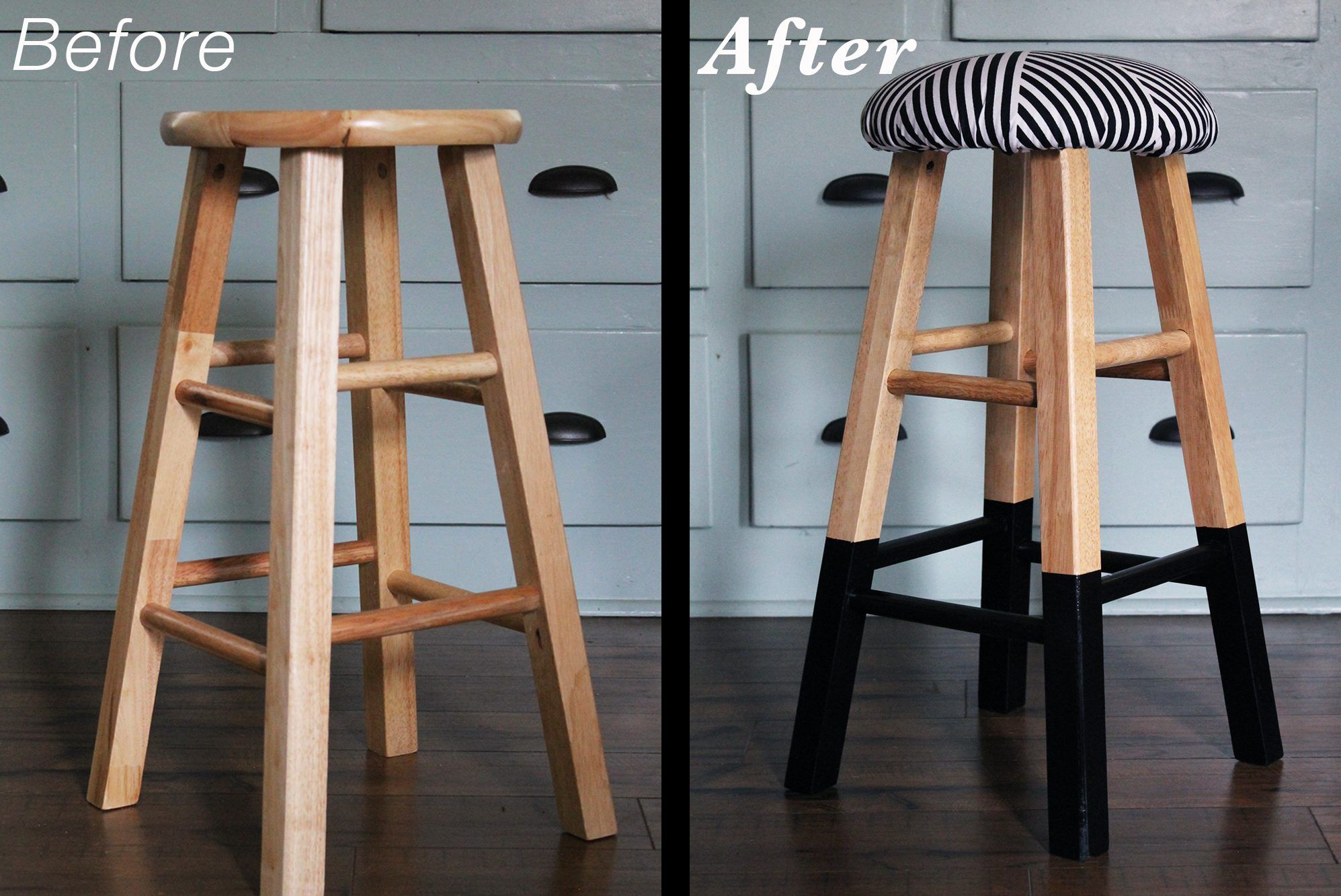 Upholster A Bar Stool With Foam And Fabric To Add A Custom Design And A Comfy Seat Add Paint To The Le Upholstered Bar Stools Diy Bar Stools Wooden Bar Stools