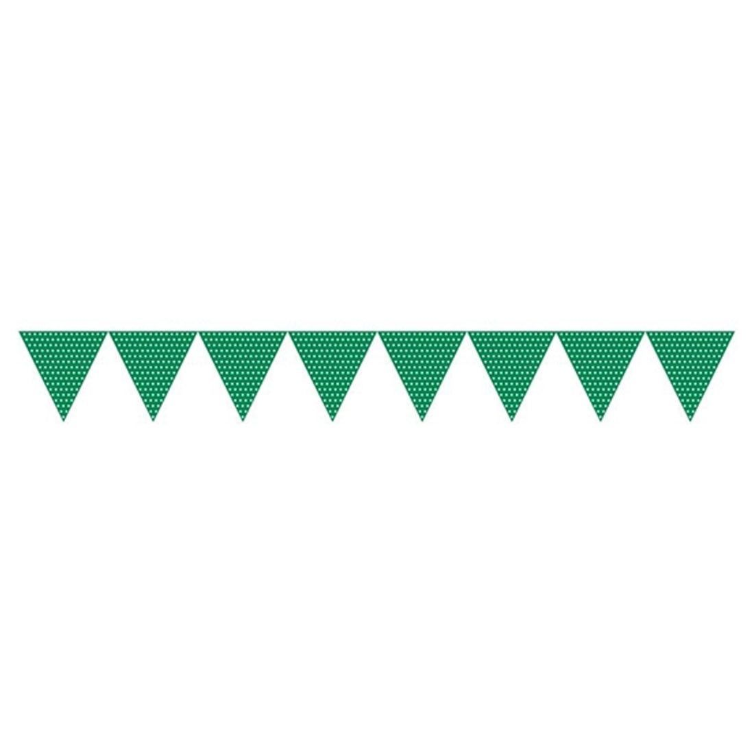 Green Paper Flag Banner with Polka Dots/Case of 6