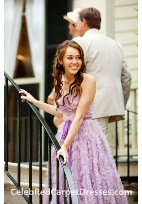 Miley Cyrus Strapless Purple Prom Dress in The Last Song | Miley ...