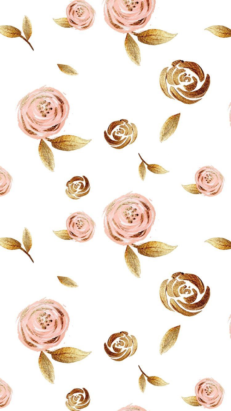 Pink And Gold Roses Gold Wallpaper Background Rose Gold