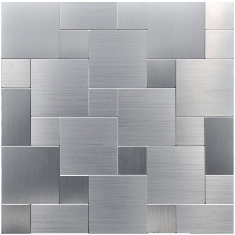 Peel And Stick Metal Mosiac Sheets For Backsplash 12in X 12in 10 Tiles 9 7 Sq Ft Metallic Backsplash Steel Backsplash Stick Tile Backsplash