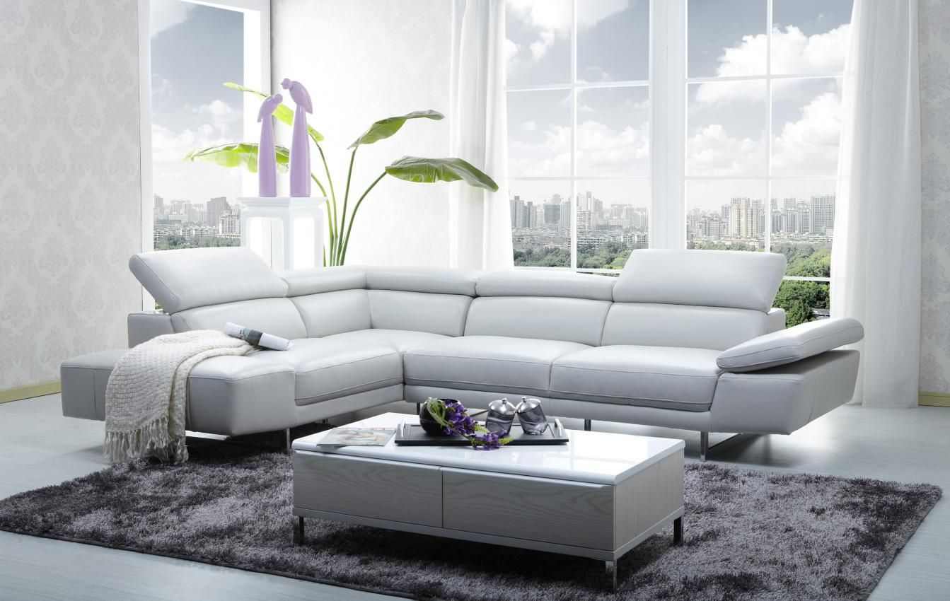 Modern Livingroom appartement with Luxurious white Leather Trendy ...