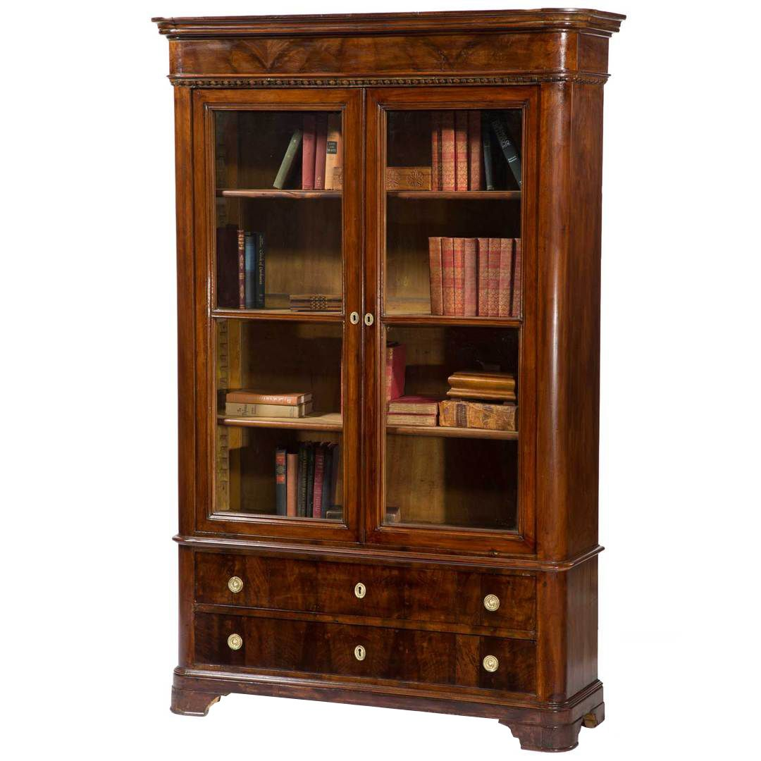 Antique Italian Walnut Bookcase with Glass Doors - Antique Italian Walnut Bookcase With Glass Doors Antique