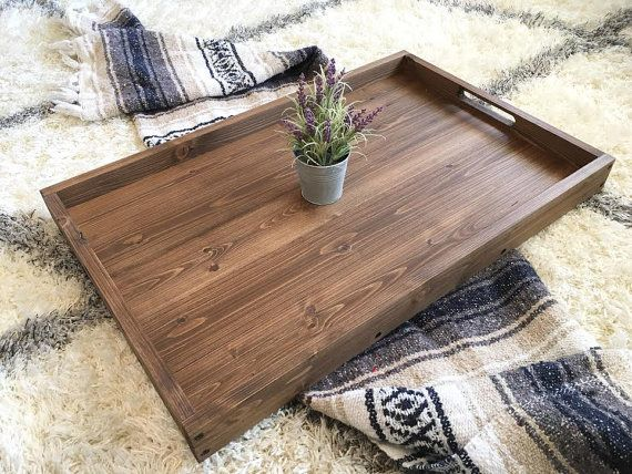 Rustic Wooden Ottoman Tray, Coffee Table Tray, Serving Tray, Wooden ...