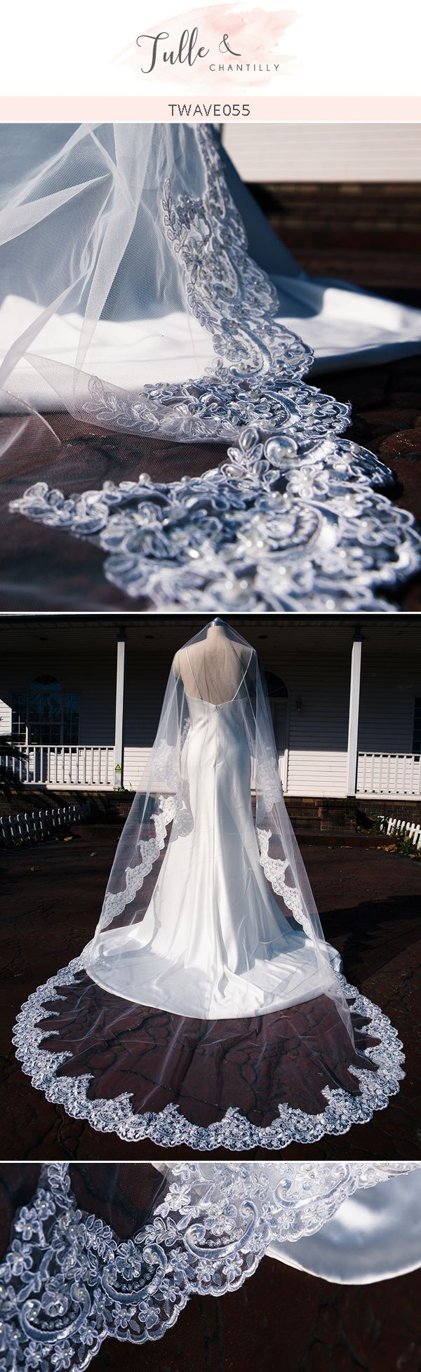Chapel Lace Wedding Hand Beading Veil Cathedral Length