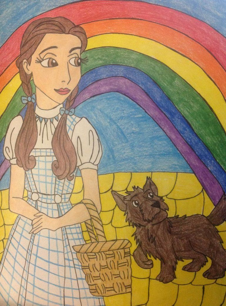 Dorothy and toto on the yellow brick road in over the