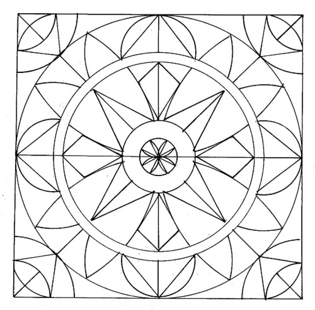 Easy Geometric Abstract Coloring Page For Kids