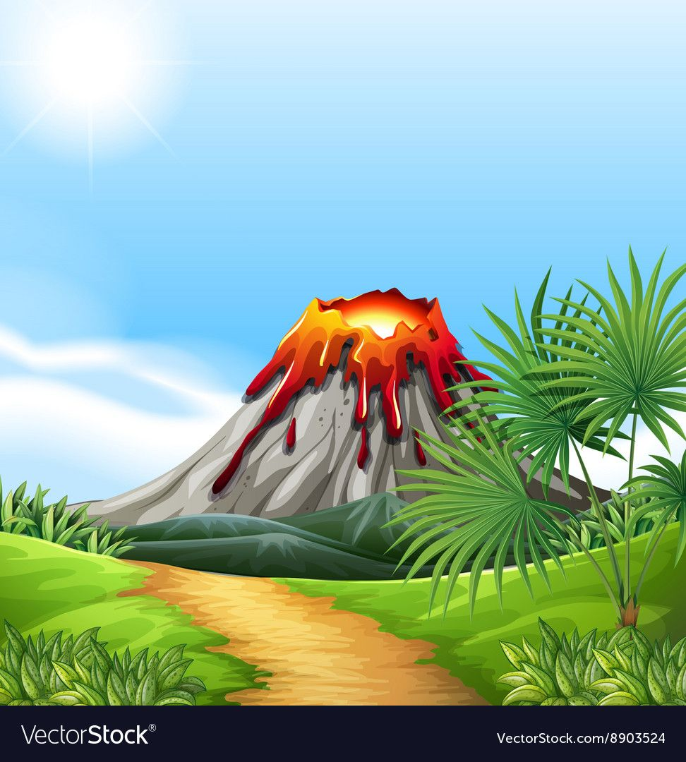 Scene With Volcano Eruption Vector Image On Vectorstock Space Wall Art Cute Monsters Drawings Volcano Drawing