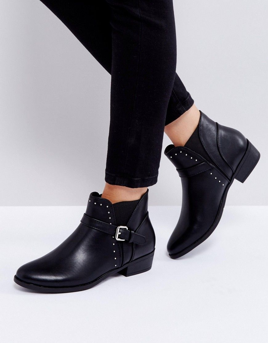 6004baeccfb Truffle Collection Flat Chelsea Boot with Buckle Trim - Black ...