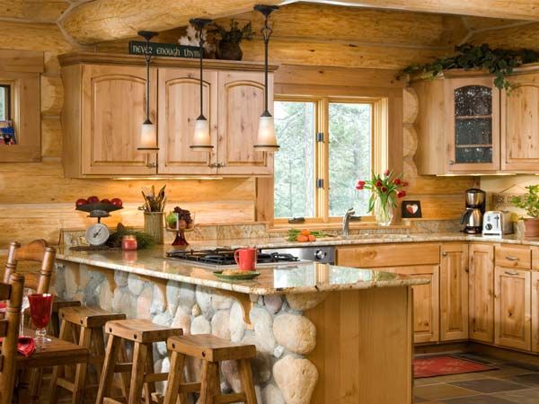 Future cabin someday photos of a winter cabin in montana for Log cabin kitchens and baths