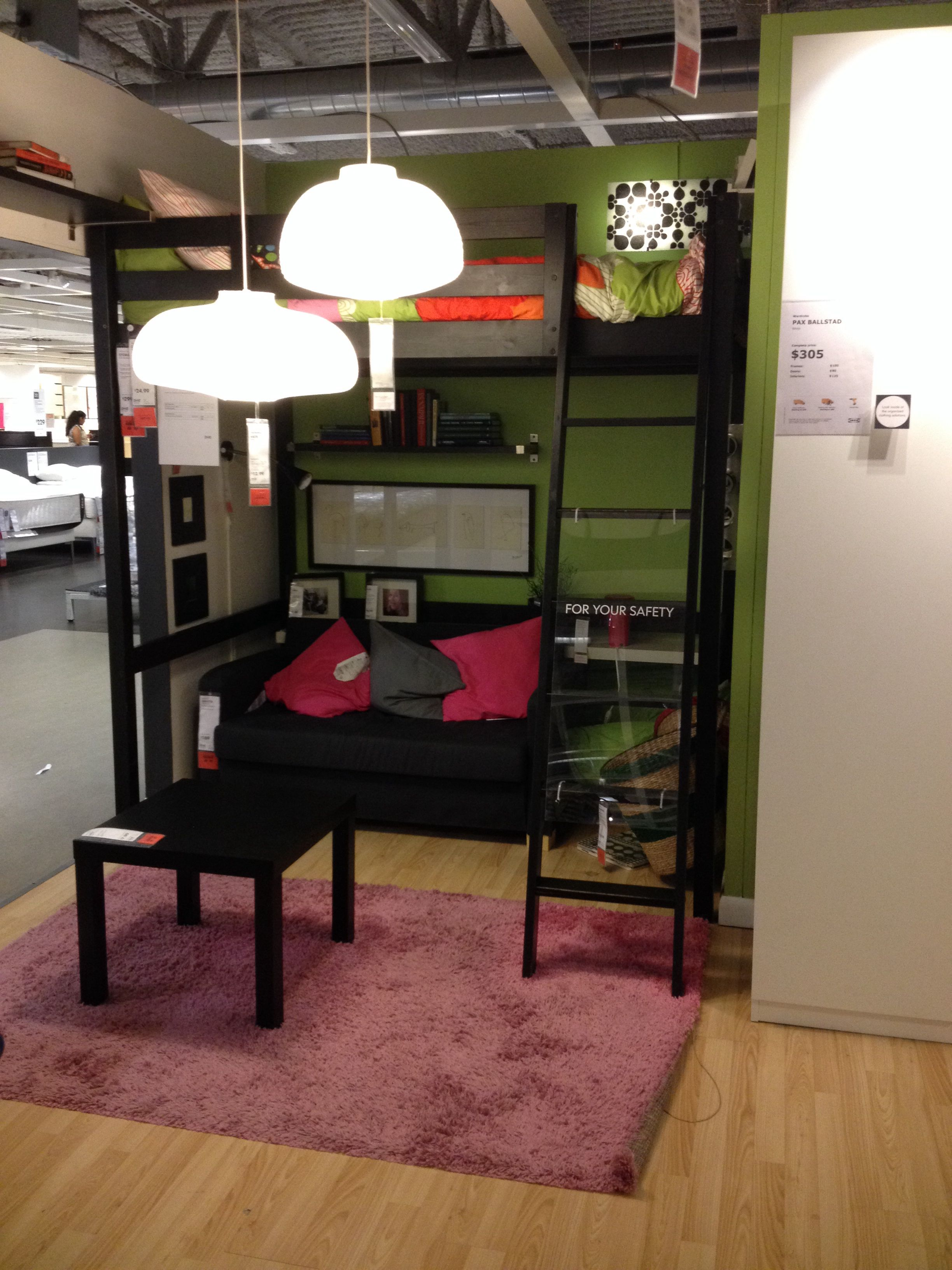 IKEA loft bed on display (shown in black but comes in