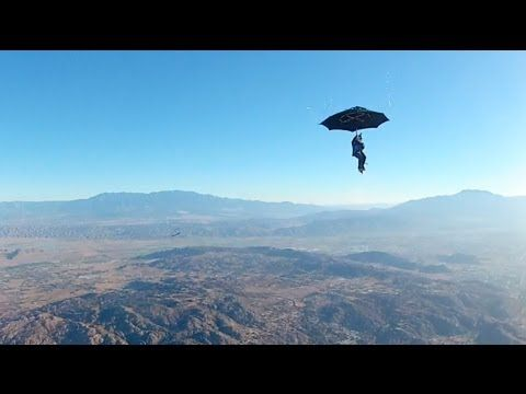 Unbelievable Mary Poppins-esque Skydive   Erik Roner puts the umbrella theory to the test in this hot air balloon skydive!