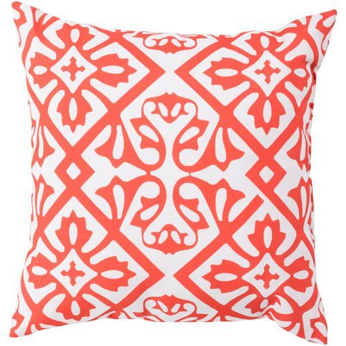 Modern Moroccan Coral and Ivory 26-Inch Pillow with Poly Fill