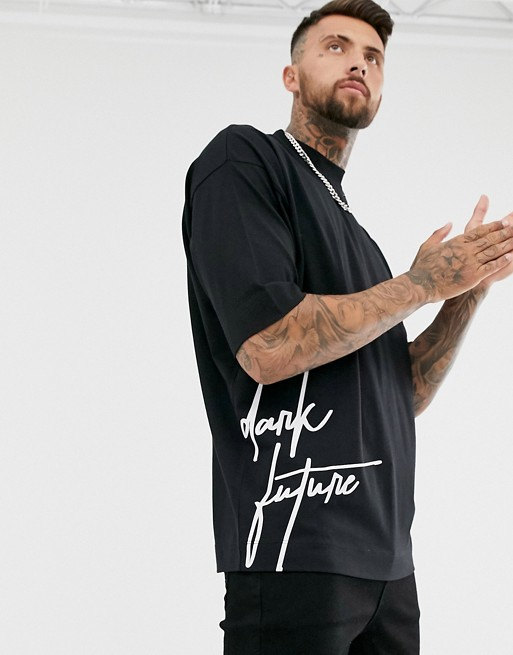 ASOS DESIGN oversized heavyweight t shirt with dark future