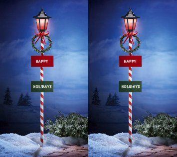 2 Holiday Solar Powered Lamp Post Outdoor Wreath Amp Bow