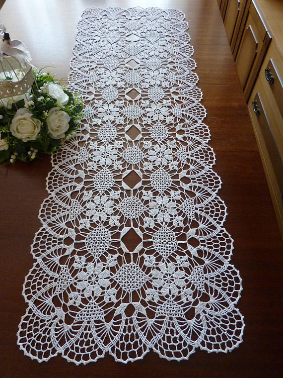 White Embroidered Lace Table Runner Doilies Table Cover Mats Floral Tablecloth
