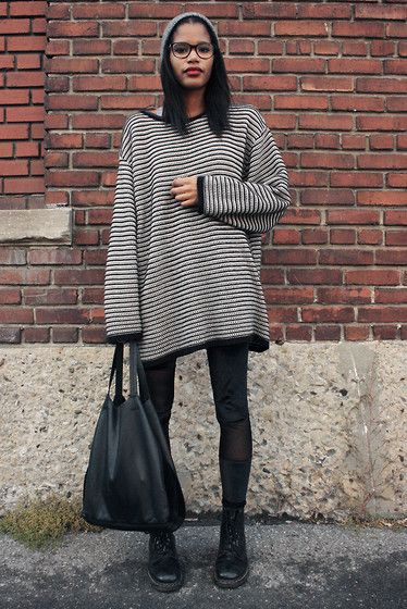 Vintage Oversized Sweater, H&M Velvet Leggings, Zara Leather Bag ...
