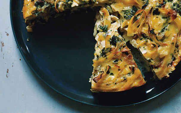 Egg Noodle, Chard, and Fontina Torte