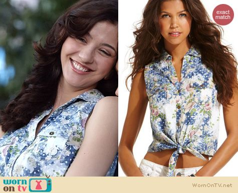 Maggie's denim floral and dot print tie front shirt on The Carrie Diaries. Outfit Details: http://wornontv.net/21350 #TheCarrieDiaries #TheCW
