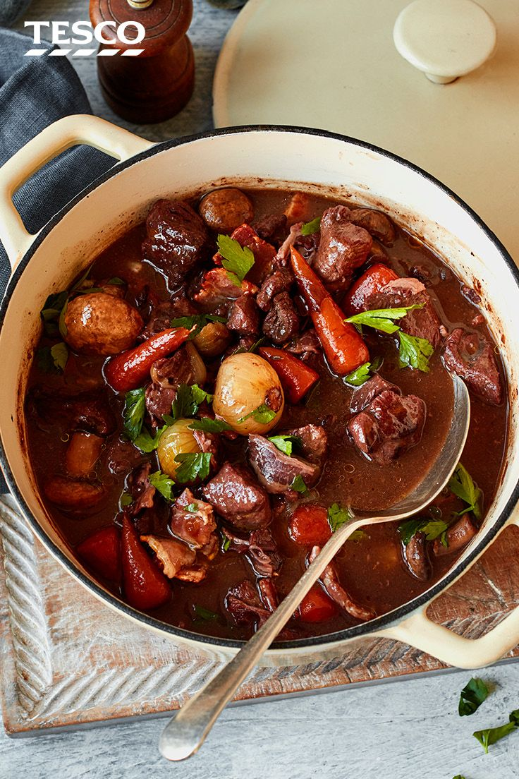 Slow Braised Beef In Red Wine Tesco Real Food Recipe Beef Casserole Recipes Slow Cooked Meals Braised Beef