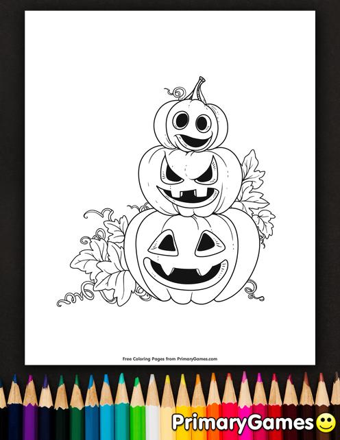 Stacked Jack-O-Lanterns Coloring Page • FREE Printable ...